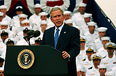 Coronado, Calif. (Aug. 30, 2005) - President George W. Bush delivers a speech to service members on board Naval Air Station (NAS) North Island, Calif. President Bush visited NAS North Island to commemorate the 60th anniversary of the allied forces victory over Japan (VJ Day) during World War II. <br /> Mandatory Credit: Aaron Burden / US Navy via CNP