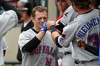 Buffalo Bisons Andy Green is greeted in the dugout after hitting a home run during a game vs. the Rochester Red Wings at Frontier Field in Rochester, New York;  September 6, 2010.  Buffalo defeated Rochester 16-1 in the season finale for both teams.  Photo By Mike Janes/Four Seam Images