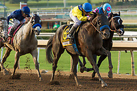 "ARCADIA, CA. SEPTEMBER 30: #6 Mubtaahij, ridden by Drayden Van Dyke, in the stretch of the Awesome Again Stakes (Grade l) ""Win and You're In Classic Division"" on September 30, 2017 at Santa Anita Park in Arcadia, CA.(Photo by Casey Phillips/Eclipse Sportswire/Getty Images)"