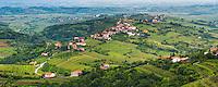 Kozana surrounded by vineyards in Goriska Brda (Gorizia Hills), in Brda, the wine region of Slovenia, Europe