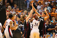 6 April 2008: Stanford Cardinal Kayla Pedersen and Jayne Appel during Stanford's 82-73 win against the Connecticut Huskies in the 2008 NCAA Division I Women's Basketball Final Four semifinal game at the St. Pete Times Forum Arena in Tampa Bay, FL.