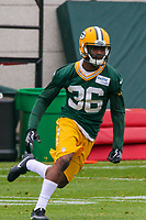 Green Bay Packers cornerback LaDarius Gunter (36) during an Organized Team Activity on May 23, 2017 at Clarke Hinkle Field in Green Bay, Wisconsin.  (Brad Krause/Krause Sports Photography)
