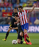 Vicente calderon Stadium. Madrid. Spain. 09/04/2014. Match between Barcelona and Atletico Madrid, Champions League. The image shows: Sergio Busquets and Adrián