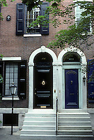 Philadelphia: 1809 and 1811 Delancey Place, circa 1860. Entrances. Photo '85.