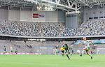 Stockholm 2015-04-11 Fotboll Damallsvenskan Hammarby IF DFF - Mallbackens IF Sunne  :  <br /> Vy &ouml;ver Tele2 Arena med publik och tomma l&auml;ktarsektioner under matchen mellan Hammarby IF DFF och Mallbackens IF Sunne  <br /> (Foto: Kenta J&ouml;nsson) Nyckelord:  Fotboll Damallsvenskan Dam Damer Tele2 Arena Hammarby HIF Bajen Mallbacken inomhus interi&ouml;r interior supporter fans publik supporters