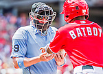 21 June 2015: MLB Umpire  Sean Barber gets some new balls from the batboy during a game between the Pittsburgh Pirates and the Washington Nationals at Nationals Park in Washington, DC. The Nationals defeated the Pirates 9-2 to sweep their 3-game weekend series, and improve their record to 37-33. Mandatory Credit: Ed Wolfstein Photo *** RAW (NEF) Image File Available ***
