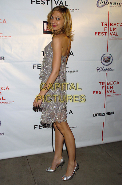 """MEGEINA TOVAH .6th Annual Tribeca Film Festival - Cadilac: """"Live!"""" after party at Underbar, New York City, New York, USA..April 28th, 2007.full length silver grey gray dress shoes looking over shoulder .CAP/ADM/BL.©Bill Lyons/AdMedia/Capital Pictures *** Local Caption ***"""