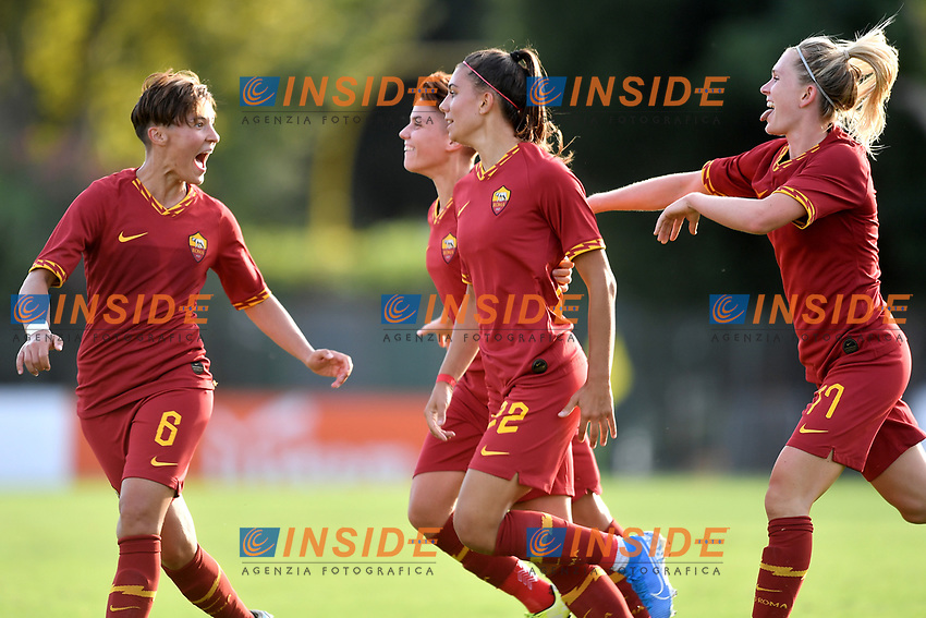 Agnese Bonfantini of AS Roma celebrates after scoring the goal of 2-2 with Federica Di Criscio , Manuela Giugliano and Amalie Thestrup <br /> Roma 8/9/2019 Stadio Tre Fontane <br /> Luisa Petrucci Trophy 2019<br /> AS Roma - Paris Saint Germain<br /> Photo Andrea Staccioli / Insidefoto