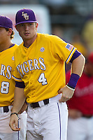 LSU Tigers outfielder Raph Rhymes #4 before the NCAA Super Regional baseball game against Stony Brook on June 10, 2012 at Alex Box Stadium in Baton Rouge, Louisiana. Stony Brook defeated LSU 7-2 to advance to the College World Series. (Andrew Woolley/Four Seam Images)
