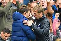 `tea `nd Brighton & Hove Albion Manager Graham Potter embrace at the end of the game during Brighton & Hove Albion vs Tottenham Hotspur, Premier League Football at the American Express Community Stadium on 5th October 2019