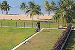 Amaya Beach Resort and Spa hotel, Pasikudah Bay, Eastern Province, Sri Lanka, Asia staff tending sedum grass roof garden
