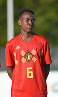 20180417 - TUBIZE , BELGIUM : Belgian Yves Mitsindo pictured during the friendly  soccer match between  under 15 teams of  Belgium and Switzerland , in Tubize , Belgium . Tuesday 17 th April 2018 . PHOTO SPORTPIX.BE / DIRK VUYLSTEKE