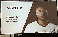 Jonathan Tah (Bayer Leverkusen) ist für den WM Kader nominiert - 15.05.2018: Vorläufige WM-Kaderbekanntgabe, Deutsches Fußballmuseum Dortmund