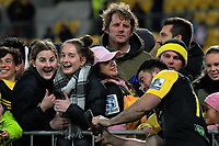 Nehe Milner-Skudder takes selfies with fans after the Super Rugby match between the Hurricanes and Chiefs at Westpac Stadium in Wellington, New Zealand on Friday, 9 June 2017. Photo: Dave Lintott / lintottphoto.co.nz
