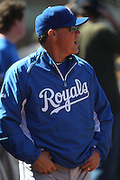 OAKLAND, CA - SEPTEMBER 5: Manager Ned Yost #3 of the Kansas City Royals watches from the dugout against the Oakland Athletics during the game at O.co Coliseum on September 5, 2011 in Oakland, California. Photo by Brad Mangin