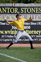 Bristol Pirates pitcher Allen Montgomery (29) warms up before a game against the Bluefield Blue Jays on July 26, 2018 at Bowen Field in Bluefield, Virginia.  Bristol defeated Bluefield 7-6.  (Mike Janes/Four Seam Images)