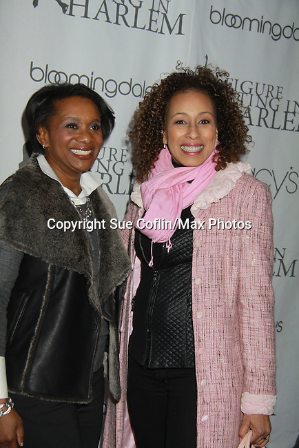As The World Turns Tamara Tunie (Law and Order SVU) poses with Candace Matthews at the 2012 Skating with the Stars - a benefit gala for Figure Skating in Harlem celebrating 15 years on April 2, 2012 at Central Park's Wollman Rink, New York City, New York.  (Photo by Sue Coflin/Max Photos)