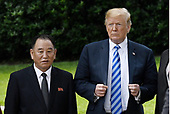 US President Donald Trump stands with Kim Yong Chol, former North Korean military intelligence chief and one of leader Kim Jong Un's closest aides, on the South Lawn of  the White House in Washington on Friday, June 1, 2018. <br /> Credit: Olivier Douliery / Pool via CNP