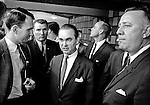 Modesto, California November 22, 1967.Modesto Bee Reporter Bill Kane ask Governor questions..Former Alabama Governor George Wallace came to California in an attempt to put his American Independent Party candidacy on the 1968 ballot.  In Modesto his appearance was held at the Sandpiper Steak House on McHenry Ave.  The Governor's entourage was 25 or so people.   Thirteen of the staff were Alabama State Police and the others were campaign workers including several lawyers and one Judge.  .
