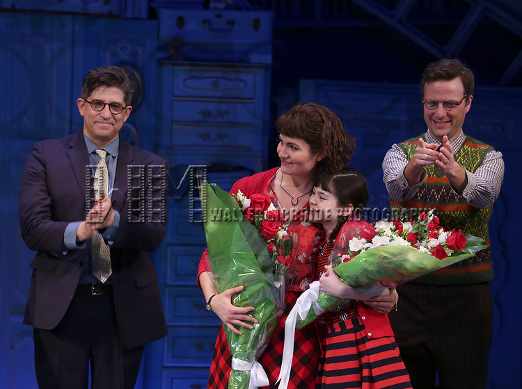 Daniel Messe, Phillipa Soo, Savvy Crawford and Manoel Felciano during the Broadway Opening Night Performance Curtain Call for 'Amelie' at the Walter Kerr Theatre on April 3, 2017 in New York City