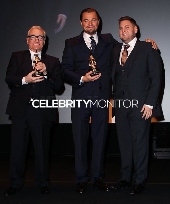 SANTA BARBARA, CA - FEBRUARY 06: Martin Scorsese, Leonardo DiCaprio, Jonah Hill at the 29th Santa Barbara International Film Festival - Honoring Martin Scorsese And Leonardo DiCaprio With The Cinema Vanguard Award held at Arlington Theatre on February 6, 2014 in Santa Barbara, California. (Photo by Xavier Collin/Celebrity Monitor)