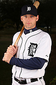 February 27, 2010:  Catcher Max St. Pierre (63) of the Detroit Tigers poses for a photo during media day at Joker Marchant Stadium in Lakeland, FL.  Photo By Mike Janes/Four Seam Images