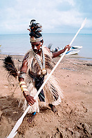 aboriginee performing ceremonial dugong dance, Saibi Island, Torres Straits, Australia