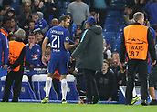 12th September 2017, Stamford Bridge, London, England; UEFA Champions League Group stage, Chelsea versus Qarabag FK; Chelsea Manager Antonio Conte congratulates Davide Zappacosta of Chelsea after the final whistle