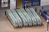 Shopping trolleys outside a Lidl store in a retail park in Wembley, North London.