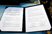 The signed Memorandum of Understanding between Paris Europlace and Shanghai Financial Services, at Shanghai / Paris Europlace Financial Forum, in Shanghai, China, on December 1, 2010. Photo by Lucas Schifres/Pictobank