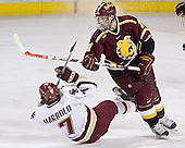 Peter Harrold, Matt Stefanishion - The Boston College Eagles and Ferris State Bulldogs tied at 3 in the opening game of the Denver Cup on Friday, December 30, 2005, at Magness Arena in Denver, Colorado.  Boston College won the shootout to determine which team would advance to the Final.