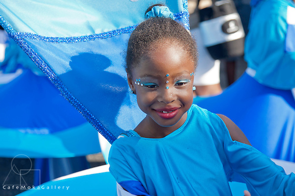 """Junior Carnival - """"Rosalind Gabriel"""",""""Love your Country"""", D bocas- waves"""" pretty young girl smiling serenely with red lips and a blue costume"""