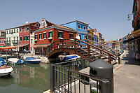 Colourful painted buildings of Burano, famous for local industry of lace making. Venice lagoon, Italy..May 2007.