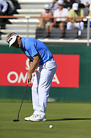 Soren Kjeldsen (DEN) putts on the 18th green during Saturday's Round 3 of the 2018 Omega European Masters, held at the Golf Club Crans-Sur-Sierre, Crans Montana, Switzerland. 8th September 2018.<br /> Picture: Eoin Clarke | Golffile<br /> <br /> <br /> All photos usage must carry mandatory copyright credit (&copy; Golffile | Eoin Clarke)
