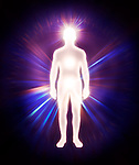 Man energy body, Qi, astral body, aura, emanations from energy centers, spiritual conceptual illustration isolated on black background