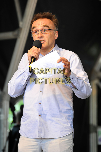 Danny Boyle<br /> attending The Big IF, Hyde Park, London, England. <br /> 8th June 2013<br /> half length blue shirt microphone glasses <br /> CAP/MAR<br /> &copy; Martin Harris/Capital Pictures