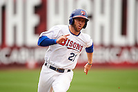 Buffalo Bisons third baseman David Adams (21) running the bases during a game against the Louisville Bats on June 23, 2016 at Coca-Cola Field in Buffalo, New York.  Buffalo defeated Louisville 9-6.  (Mike Janes/Four Seam Images)
