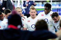 Dylan Hartley of England speaks to his team-mates during a post-match huddle. RBS Six Nations match between France and England on March 19, 2016 at the Stade de France in Paris, France. Photo by: Patrick Khachfe / Onside Images