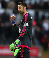 Lukasz Fabianski of Swansea City celebrates at full time during the Barclays Premier League match between Swansea City and Norwich City played at The Liberty Stadium, Swansea on March 5th 2016