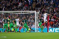England's Harry Kane heads into the back of the net but it's disallowed <br /> <br /> Photographer Craig Mercer/CameraSport<br /> <br /> FIFA World Cup Qualifying - European Region - Group F - England v Solvenia - Thursday 5th October 2017 - Wembley Stadium - London<br /> <br /> World Copyright &copy; 2017 CameraSport. All rights reserved. 43 Linden Ave. Countesthorpe. Leicester. England. LE8 5PG - Tel: +44 (0) 116 277 4147 - admin@camerasport.com - www.camerasport.com