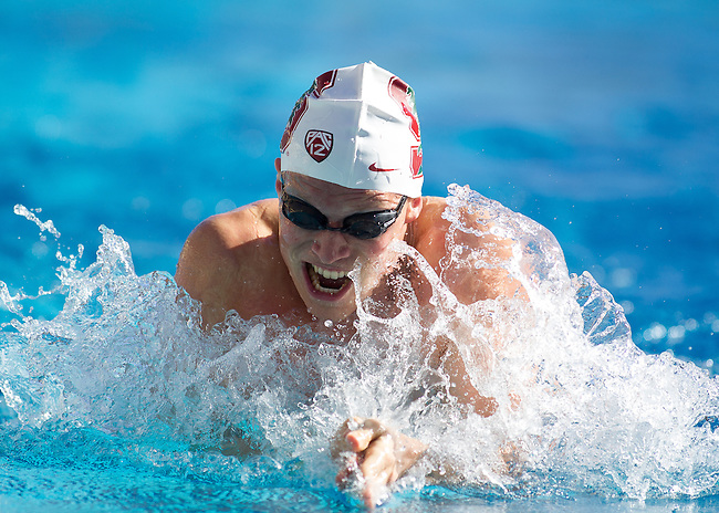USC at Stanford Mens Swimming, February 9, 2013....Christian Brown?  Mens 100 Yard Breaststroke.