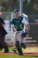 Dartmouth Big Green catcher Kyle Holbrook (9) backs up the play during a game against the St. Bonaventure Bonnies on February 25, 2017 at North Charlotte Regional Park in Port Charlotte, Florida.  St. Bonaventure defeated Dartmouth 8-7.  (Mike Janes/Four Seam Images)