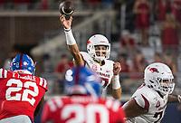 NWA Democrat-Gazette/BEN GOFF @NWABENGOFF<br /> Nick Starkel, Arkansas quarterback, throws the ball in the third quarter vs Ole Miss Saturday, Sept. 7, 2019, at Vaught-Hemingway Stadium in Oxford, Miss.