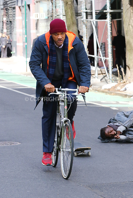 WWW.ACEPIXS.COM<br /> <br /> March 31 2016, New York City<br /> <br /> Actor Will Smith on the set of the new movie 'Collateral Beauty' on March 31 2016 in New York City<br /> <br /> By Line: Zelig Shaul/ACE Pictures<br /> <br /> <br /> ACE Pictures, Inc.<br /> tel: 646 769 0430<br /> Email: info@acepixs.com<br /> www.acepixs.com