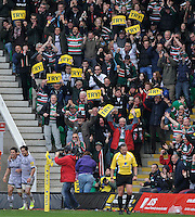 Rugby Union - Aviva Premiership - Northampton Saints vs. Leicester Tigers. Horacio Agulla of Leicester Tigers scores a try to the delight of Tigers supporters during the Northanpton Saints vs Leicester Tigers Aviva Premiership at Franklin's Gardens, Northampton,