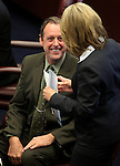 Nevada Senators John Lee, D-Las Vegas, and Barbara Cegavske, R-Las Vegas, talk on the Senate floor at the Legislature in Carson City, Nev., on Thursday, March 17, 2011..Photo by Cathleen Allison