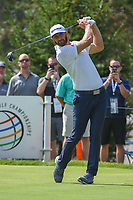 Dustin Johnson (USA) watches his tee shot on 13 during 2nd round of the World Golf Championships - Bridgestone Invitational, at the Firestone Country Club, Akron, Ohio. 8/3/2018.<br /> Picture: Golffile | Ken Murray<br /> <br /> <br /> All photo usage must carry mandatory copyright credit (© Golffile | Ken Murray)