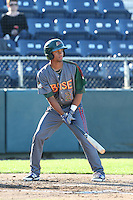 Charcer Burks #27 of the Boise Hawks bats against the Everett AquaSox at Everett Memorial Stadium on July 25, 2014 in Everett, Washington. Everett defeated Boise, 3-1. (Larry Goren/Four Seam Images)