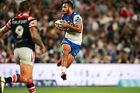 Peta Hiku on attack. Sydney Roosters v Vodafone Warriors, NRL Rugby League. Allianz Stadium, Sydney, Australia. 31st March 2018. Copyright Photo: David Neilson / www.photosport.nz