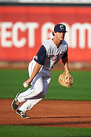 Cedar Rapids Kernels first baseman Brett Doe (32) flips the ball to first during a game against the Kane County Cougars on August 18, 2015 at Perfect Game Field in Cedar Rapids, Iowa.  Kane County defeated Cedar Rapids 1-0.  (Mike Janes/Four Seam Images)